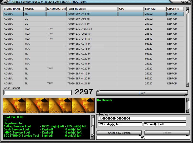 Ultraprog 17.3.8 / Ico's AirBag Crash Data Cleaner 1.1 / AirBag Service Tool