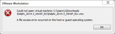 A file access error occurred on the host or guest operating system