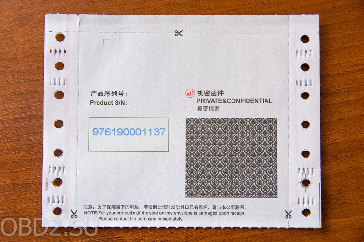 GOLO M-Diag конверт с регистрационной информацией