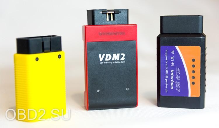 UCANDAS VDM2 сравнение размеров с LAUNCH EasyDiag 3.0 и ELM327