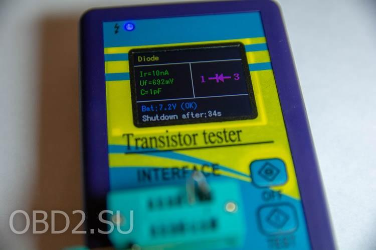 Универсальный тестер транзисторов - тестирование диода