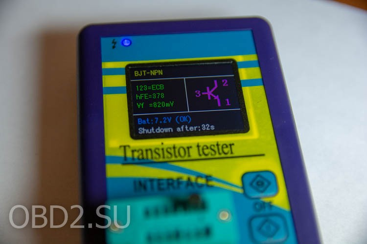 Универсальный тестер транзисторов - тестирование биполярного транзистора