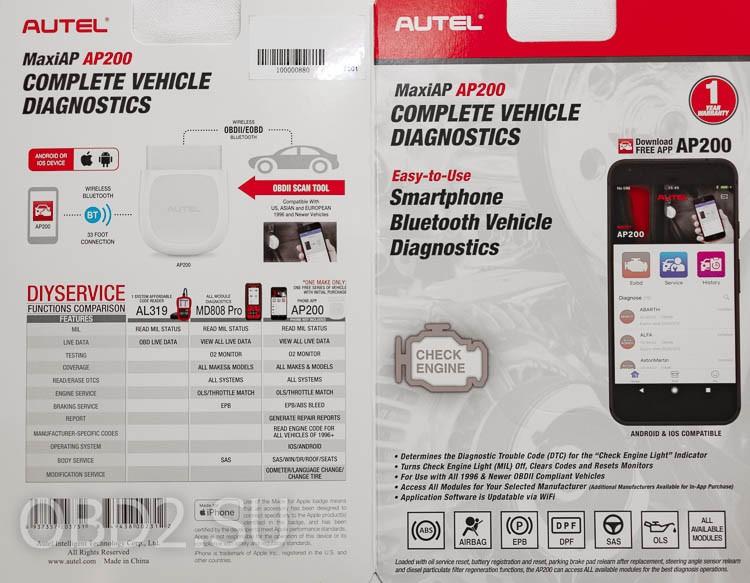 AUTEL MaxiAP AP200 скан вкладыша упаковки