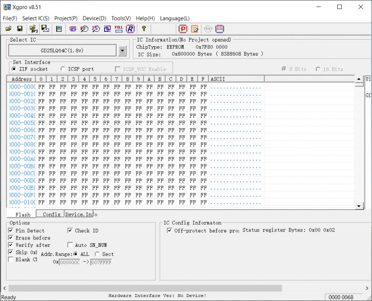 Скриншот программы MiniPro TL866II Plus